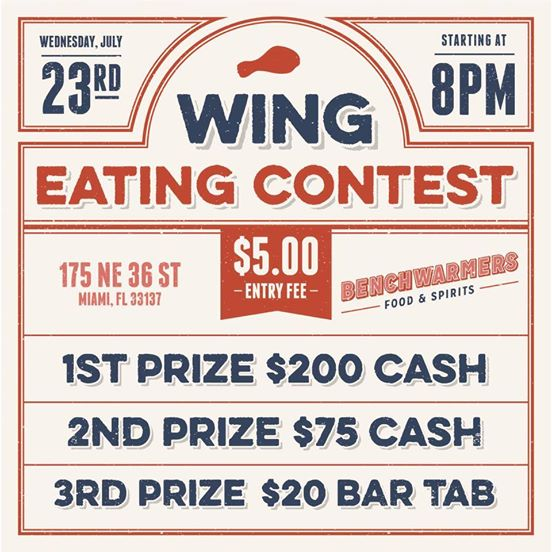 BENCHWARMERS CHICKEN WING EATING CONTEST…is here